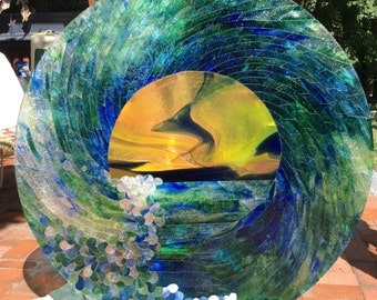 Stained Glass Ocean Wave Mosaic