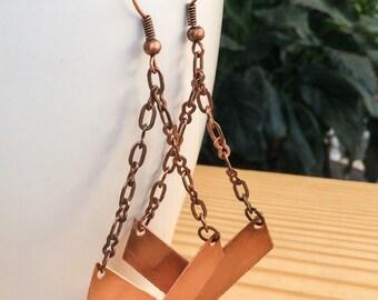 Chevron Copper Dangle Earrings Geometric
