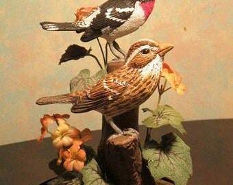 "Rose-Breasted Grosbeak hand-painted sculpture in 8"" crystal dome"