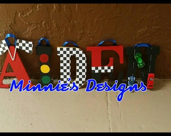 Race car themed Name decor, Cars racing decorations, Disney Cars letters , Cars Name letters