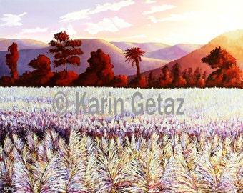 sunset rural art, tropical art prints, impressionist art, cane fields flowers, wall art prints, purple art prints, sunset art prints