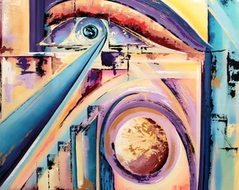 Wall decor prints, abstract art print, abstract shapes art, purple and blue art, abstract eye print, karingetazart, modern art print