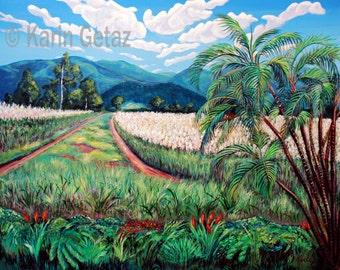 Tropical art, Landscape wall art , Landscape home décor, Rural landscape, Rural landscape print, Matted landscape, Australian art