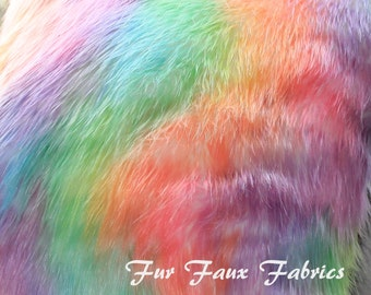 Fur Faux Fabric By The Yard Remnants Bright Rainbow Shag Furs Animal Upholstery Supply Crafts Fake Sheepskins Fabrics