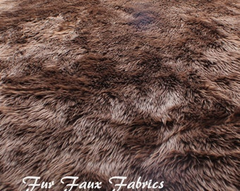 Brown Shag Luxury Shaggy Fur Faux Fabric By The Yard Remnants Long Pile Shaggy Solid Upholstery Supplies Crafts Plush