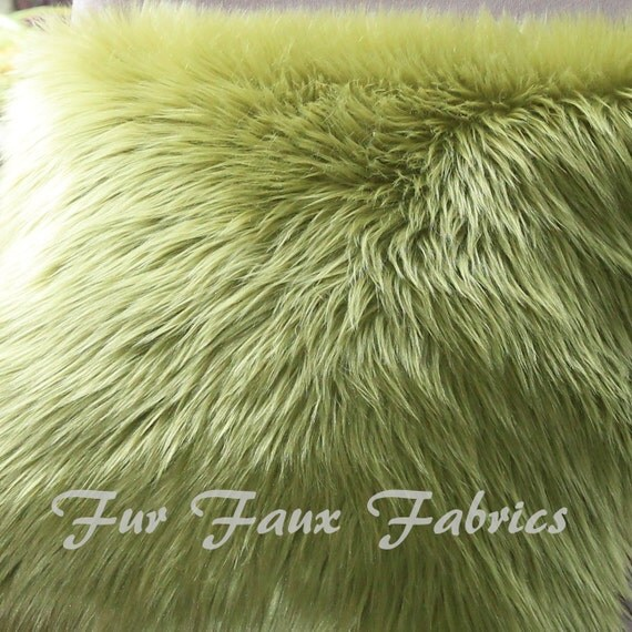 Beautiful Olive Green Shaggy Fur Faux Fur Remnants By The