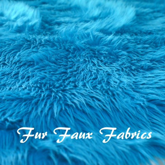 Turquoise teal shag fur luxury shaggy fur faux fabric by the - Tapis shaggy turquoise ...