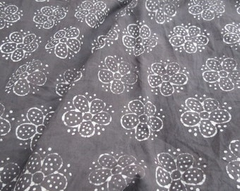 Dark Grey Floral Fabric by the metre