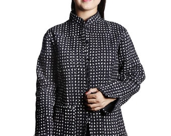 Black White Print Quilted Jacket