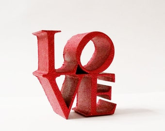 Red Glitter Love Statue, Love Statue, Philadelphia Love Icon, Love Statue, Love Art, 3D Printed Love Figurine, Glitter Figurine, Love Decor,
