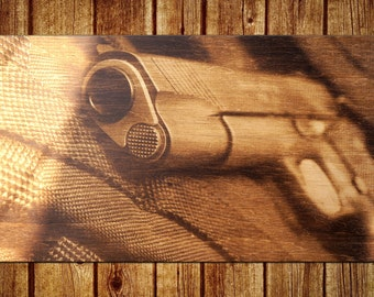 A Gun Pyrography Art, A Gun Extraordinary Wood Burned Wall Art, Great Gift, Unusual Wood Burned Birthday Gift, Gift for Him, Gift for Her