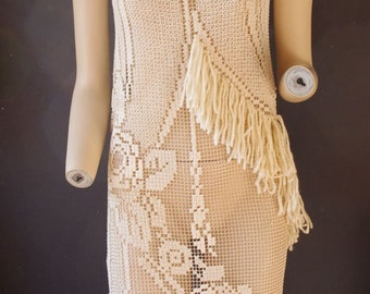 hand made crochet flapper dress---ivory-----s