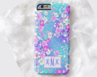 Floral Monogram Cell Phone Case, iPhone 6 case, Note 4 cell case, Floral phone case,iPhone 6 plus cell phone case,iPhone 6 plus case,S6 #333