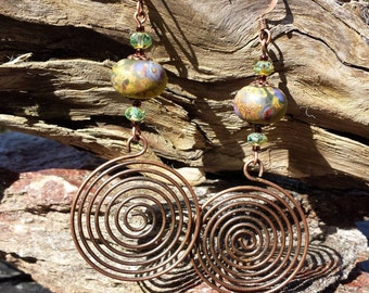 Garden of the Goddess, Artisan Lampwork Glass, Copper Spiral, Picasso Glass