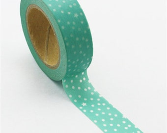 Washi Tape, Teal with Dots and Stars, 15mm x 10m