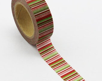 Washi Tape, Red & Green Stripes, 15mm x 10m