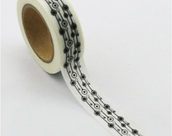 Washi Tape, Black & White, Pattern H, 15mm x 10m
