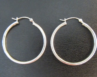 Sterling Silver Hoop Earrings 1-3/16""