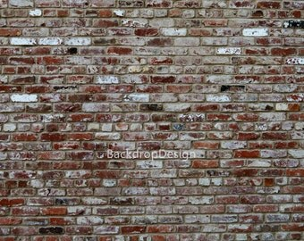 Red Brick Backdrop - red old brick wall, vintage bricks - Printed Fabric Photography Background P0003
