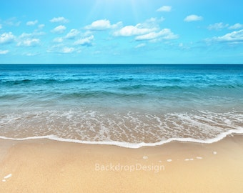Sea Beach Backdrop - blue sky, white cloud, water, sand, romantic scene - Printed Fabric Photography Background G0106