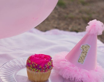 Pink tulle 1st Birthday hat with glitter