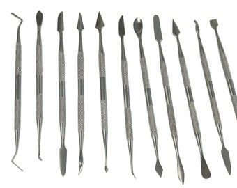 12PC Stainless Steel Wax, Clay Or Soap Carving Tools, for Polymer And Precious Metal Art, ( PMC ) Modelling, Fimo, Etc