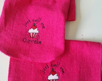 Hot Pink Terrycloth Robe wTowel. Call me Cupcake embroidery design