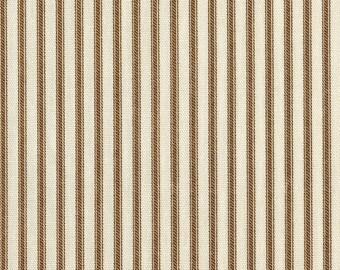 Shower Curtain Suede Brown Ticking Stripe