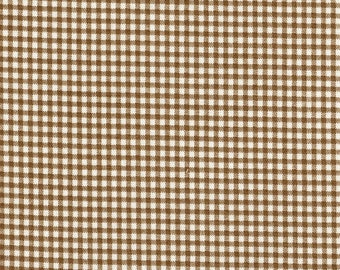 Rod-Pocket Curtain Panels Suede Brown Gingham Check