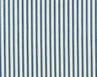Tab Top Curtain Panels Nautical Blue Ticking Stripe