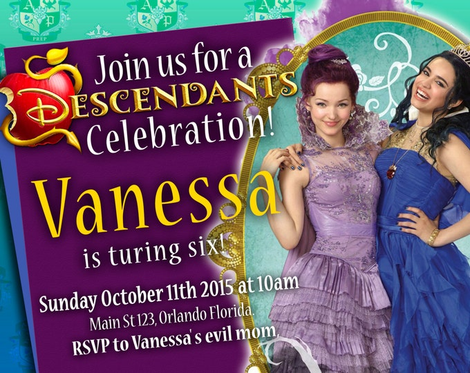 Birthday Invitation Disney Descendants - Mal and Evie - We deliver your order in record time!, less than 4 hour! BEST VALUE