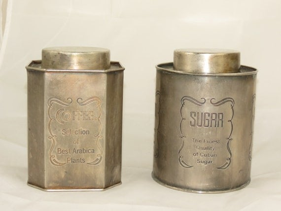 vintage metal kitchen canisters by dahliavintagehome on etsy vintage aluminum kitchen canister set 4 metal housewares