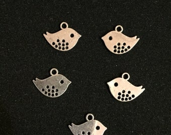 SALE ***10 Bird Charms Antique Silver Tone Vintage Style  Size :16mm x 13mm - A103N
