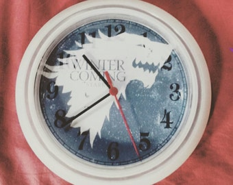 """Wall clock """"House Stark"""" Game of Thrones"""