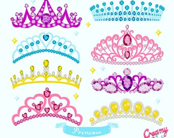 Princess Crown Digital Vector Clip art/ Tiara Clipart Design Illustration / Girls Party, Crowns, Girls birthday / Instant Download