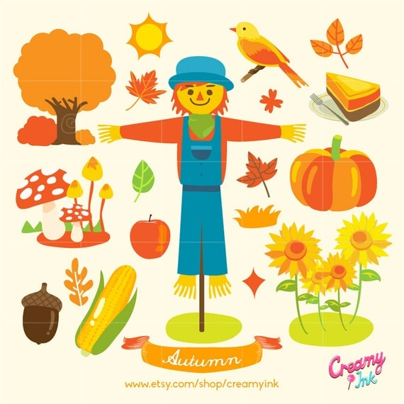Fall Digital Vector Clip art / Autumn Clipart Design Illustration ...