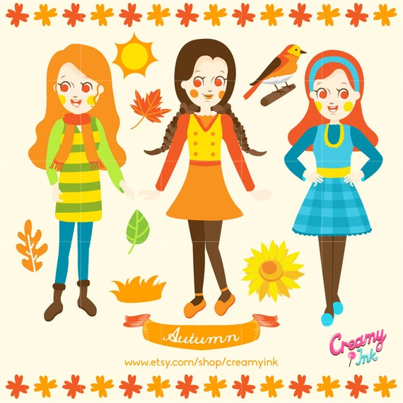 fall kids digital vector clip art autumn girls clipart design rh catchmyparty com fall season clipart black and white