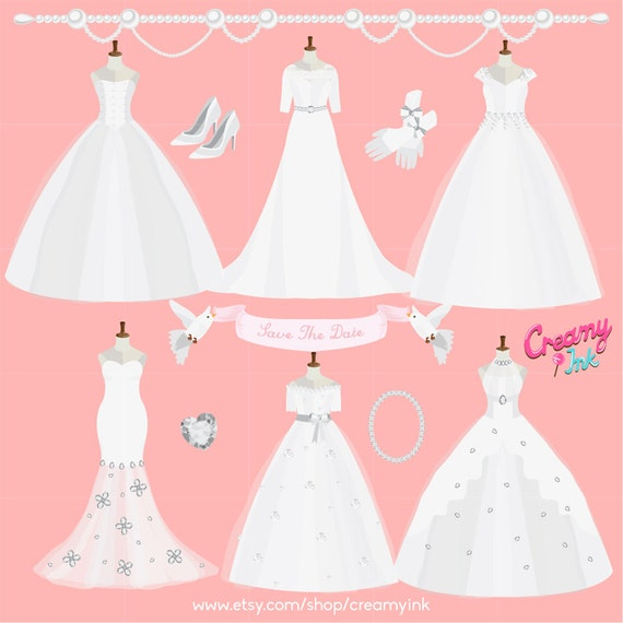 Wedding Gown Clip Art: Wedding Dress Digital Vector Clip Art/ Wedding Gown Clipart