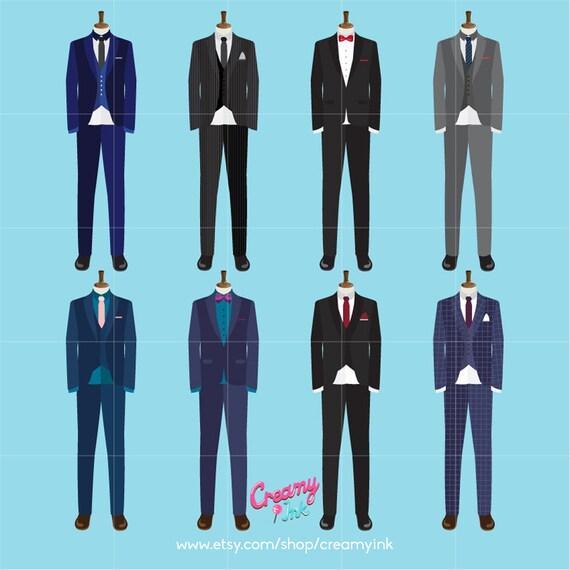 Men Suits Digital Vector Clip art/ Wedding Tuxedo Clipart
