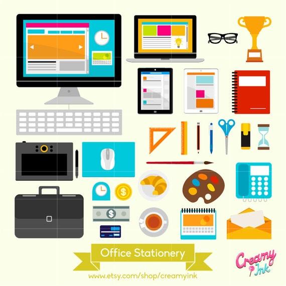 Office Stationery Digital Vector Clip Art Desk