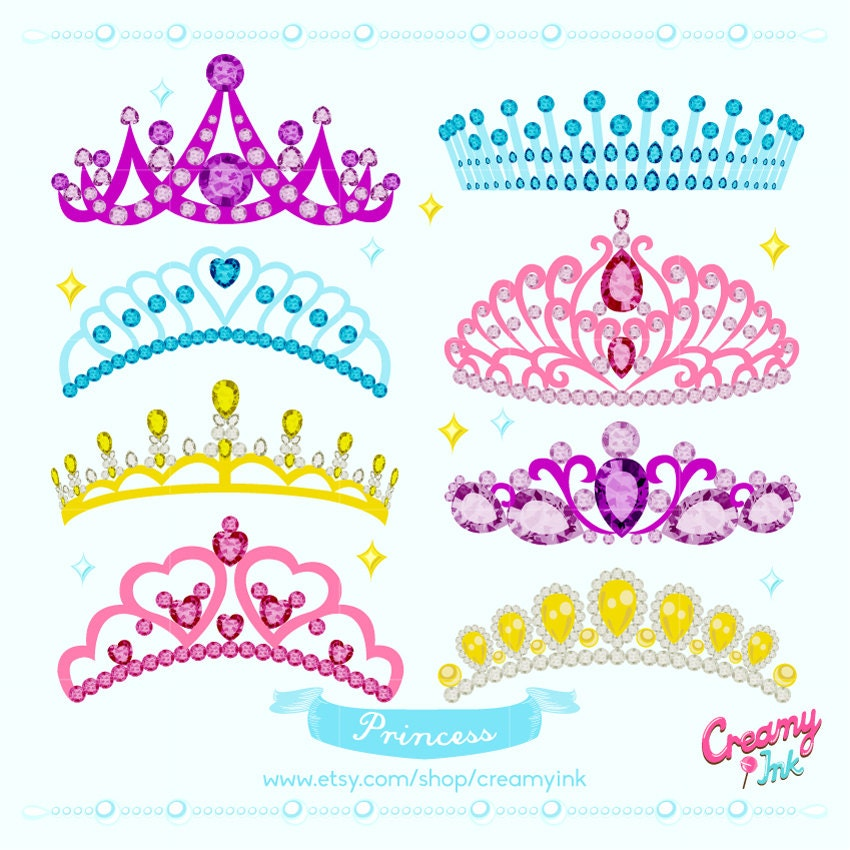 Princess Crown Digital Vector Clip Art Tiara Clipart