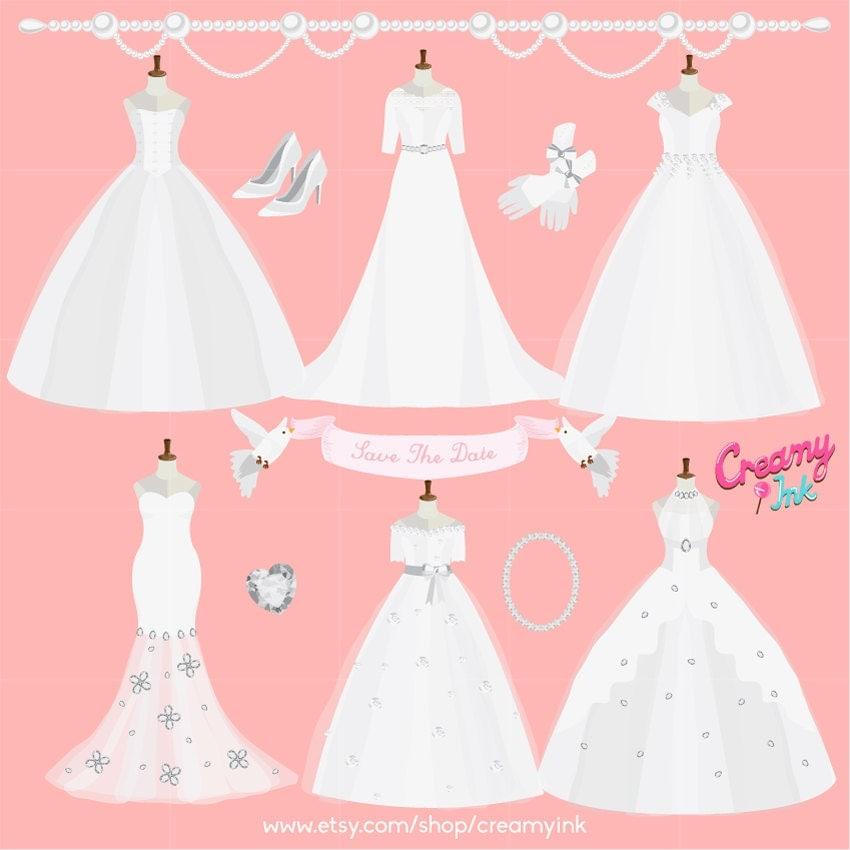 Wedding Dress Digital Vector Clip Art/ Wedding Gown Clipart