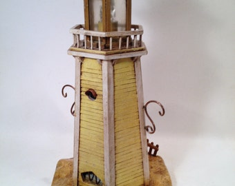 Yellow Lighthouse bird feeder