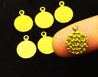 10 mm 100 pcs Raw Brass Round Charms, Pendant,Findings