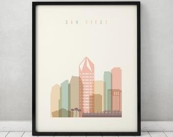San Diego print, Poster, Wall art, San Diego California skyline, City poster, Typography art, Home Decor, Digital Print, ArtPrintsVicky.