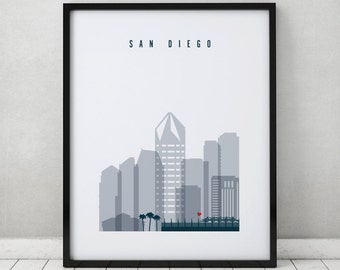 san diego wall art print poster san diego california skyline city print - San Diego Home Decor