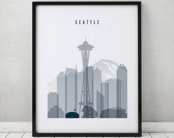 Seattle art print, Seattle poster, Seattle art skyline, Travel Wall art, cityscape, City poster, Typography art, Home Decor, ArtPrintsVicky
