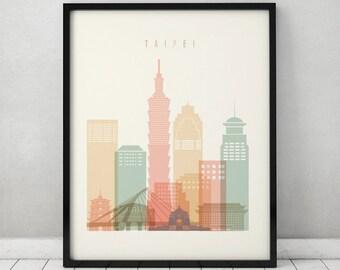 Taipei print, Poster, Wall art, Taipei skyline, Taiwan cityscape, City poster, Typography art, Home Decor, Digital Print, ArtPrintsVicky.