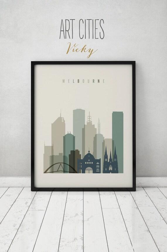 melbourne skyline city poster typography art home decor