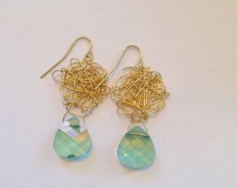 Swarovski Gold and Aqua Crystal Earrings